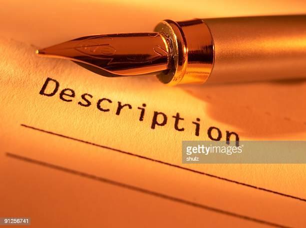 Pluma estilográfica en el formulario