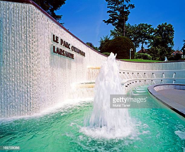 fountain - lausanne stock pictures, royalty-free photos & images