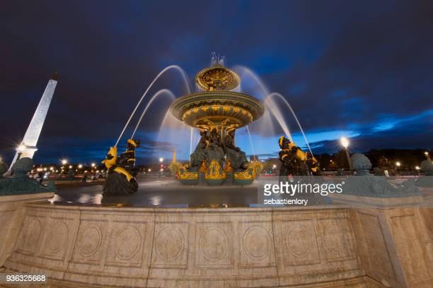 fountain, place de la concorde, paris, france - place de la concorde stock pictures, royalty-free photos & images