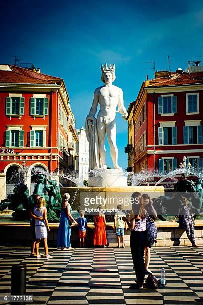 Fountain Soleil on Place Massena.