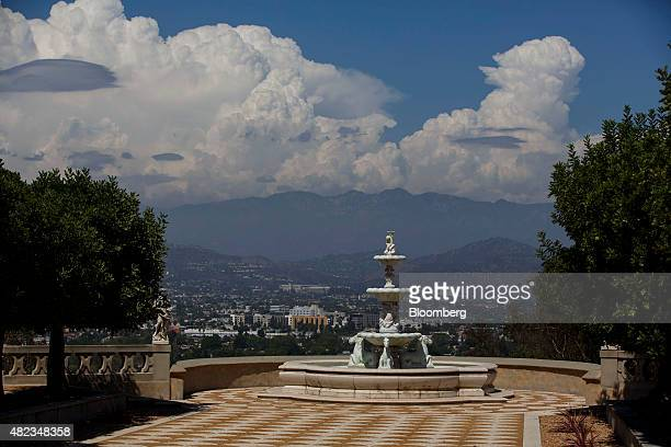 A fountain stands overlooking the valley at the former home of Sisters of the Most Holy and Immaculate Heart of the Blessed Virgin Mary on Waverly...