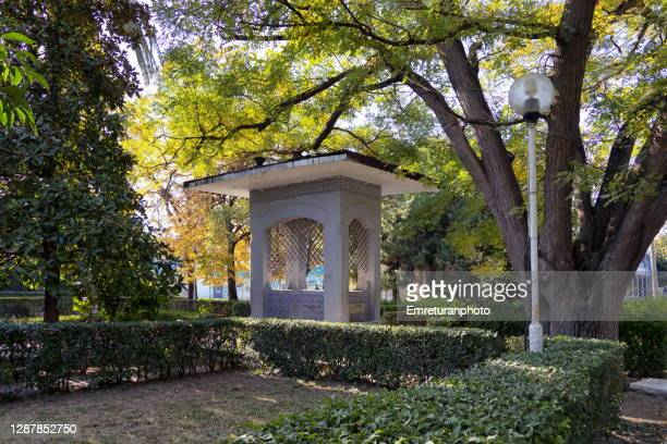 fountain under trees in a public park in izmir. - emreturanphoto stock pictures, royalty-free photos & images