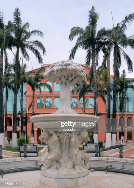 fountain with ceiba tree and the presidential palace on plaza independencia, form plaza de españa of colonial times, malabo, equatorial guinea - malabo stock pictures, royalty-free photos & images