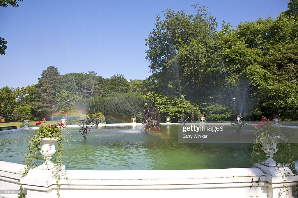 Fountain With Rainbow At Snug Harbor Cultural Center And Botanical Garden,  Staten Island, New