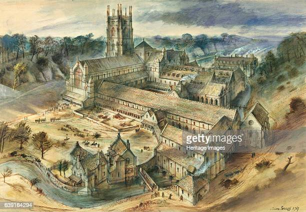 Fountains Abbey North Yorkshire Reconstruction drawing c12th century One of the largest and best preserved ruined Cistercian monasteries in England...