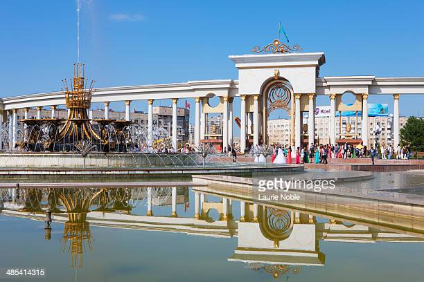 fountains and gate, first presidents park, almaty - kazakhstan stock pictures, royalty-free photos & images