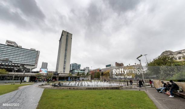Fountains and shops in Piccadilly Gardens, Manchester