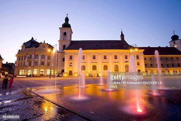 Fountains at Sibiu main square, Piata Mare, Sibiu, Romania, Europe