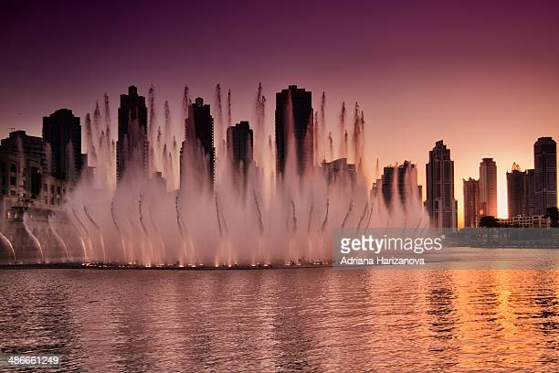 Fountains at sunset