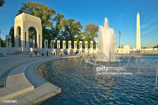 Fountains at the US World War II Memorial commemorating World War II in Washington DC