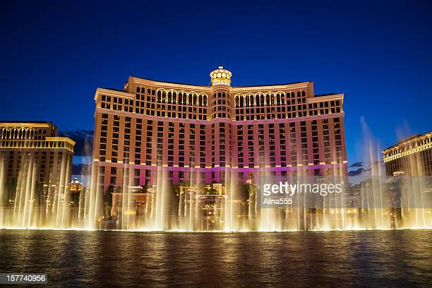 Fountains of Bellagio at sunset: hotel casino in Las Vegas