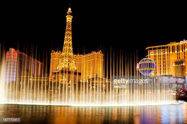 Fountains of Bellagio with Las Vegas Strip in the background