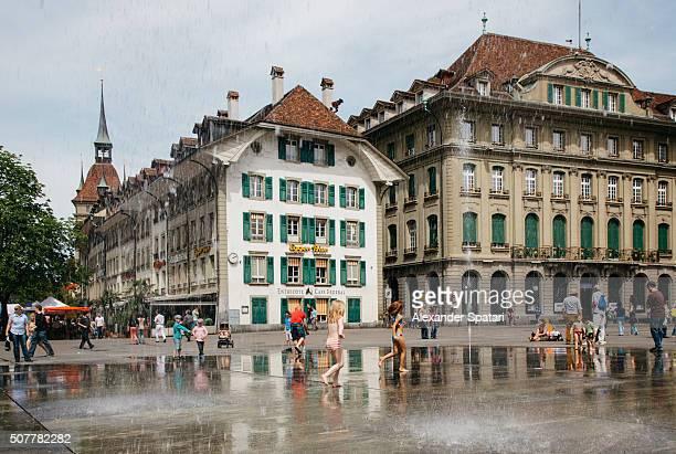 Fountains on Bundestplatz in Bern, Switzerland on a hot summer day