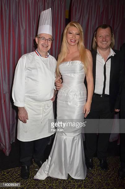 Fouquet's Chef JeanYves Leuranguer TV presenter/culinary journalist Nadine Rodd and Chef Philippe Bohrer attend the Nadine Rodd Wedding Cocktail...