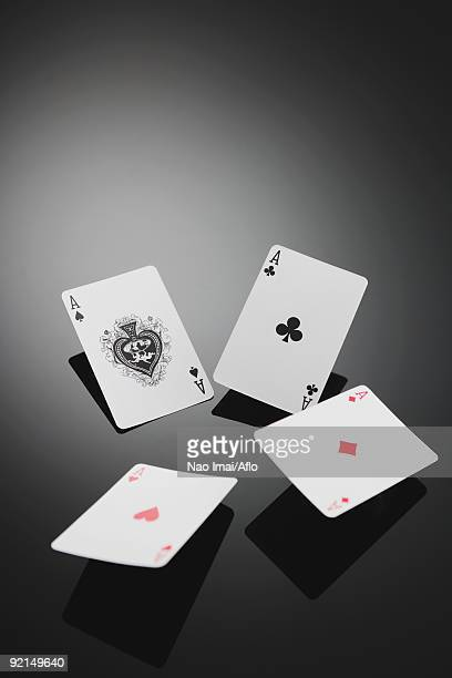 Four aces playing cards in studio