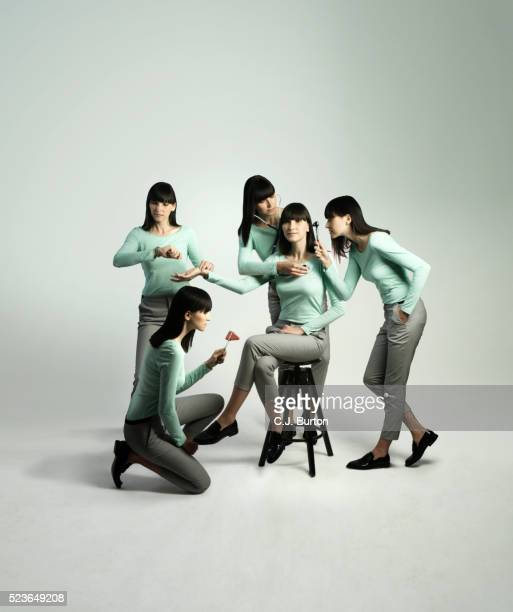 Four additional versions of woman's self work on doing medical examination on herself