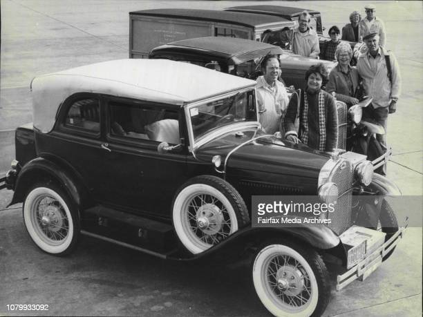 Four American couples who have driven around the world in their vintage and veteran FordsCars from to rear are A400 convertible sedan 1931 model 5...