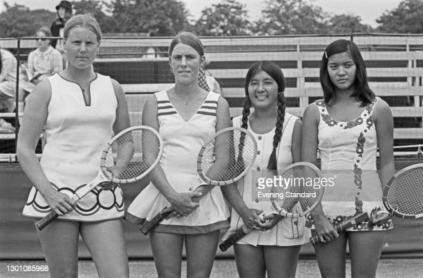 Four American tennis players who are competing in the Women's Singles at the 1973 Wimbledon Tennis Championships in London, UK, 13th June 1973. From...