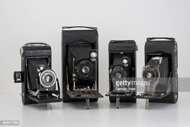 Four Americanmade Eastman Kodak folding film cameras are seen together in this 2009 Healdsburg California studio photo