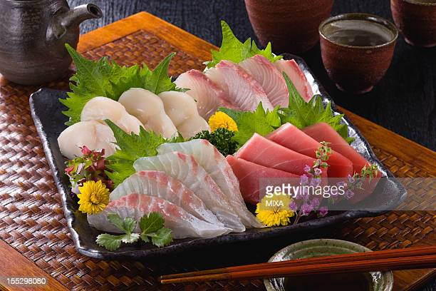 Four Assorted Sashimi, Lean Tuna, Sea Bream, Scallop and Greater Amberjack