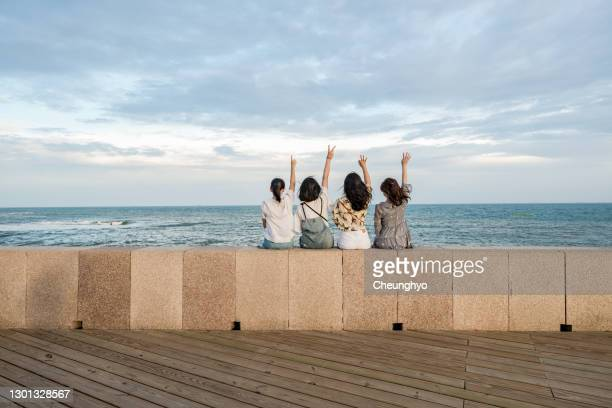 four beautiful girls sitting in front of the seaside, copy space - surrounding wall stock pictures, royalty-free photos & images