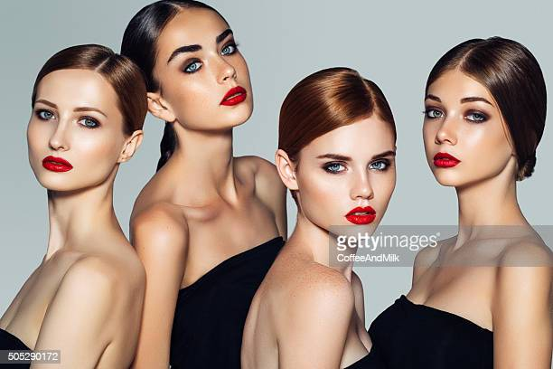 four beautiful girls with make-up - model stock photos and pictures