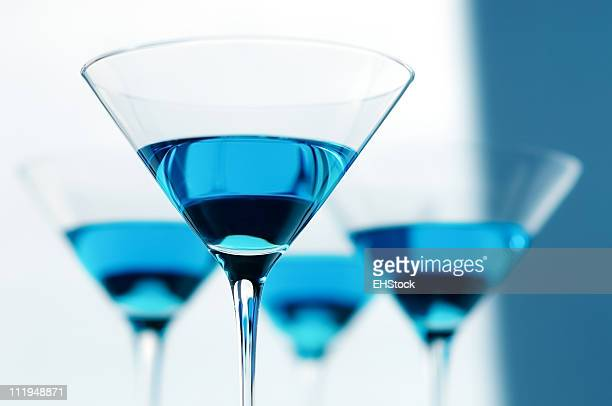 Four Blue Martini Glasses