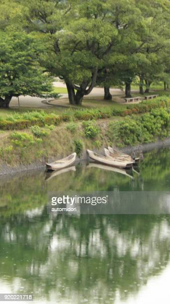Four Boats Resting by the Side of Nishiki River in Iwakuni during Summer 2017