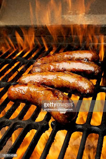 Four Bratwurst on the grill