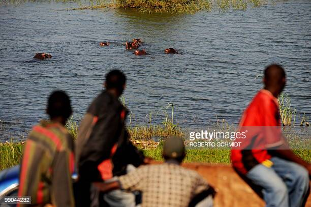 Four Burundian men look at a group of hippos wallowing near the coast of Lake Tanganyika on May 12 2010 Even though the residents of the city are...