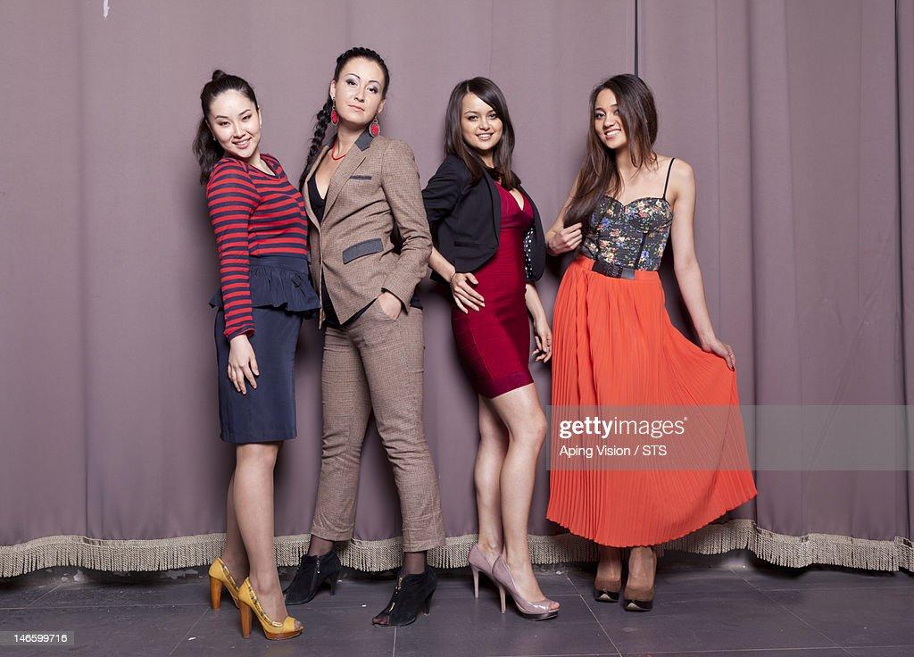 Four cheerful Russian girls : Stock Photo