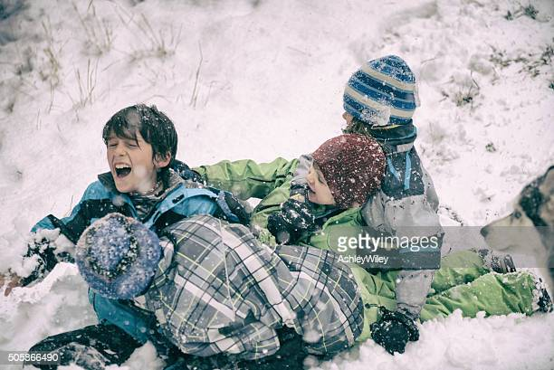 Four children sled and crash while a dog watches