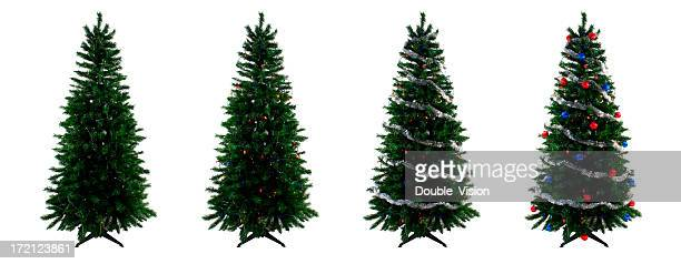 four christmas trees showing different stages of the decorating process - tinsel stock pictures, royalty-free photos & images