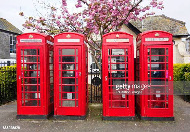 Four classic English Red Telephone Boxes