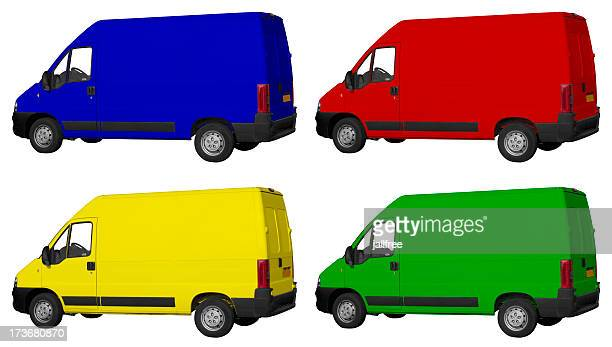 Four coloured vans on white background with paths