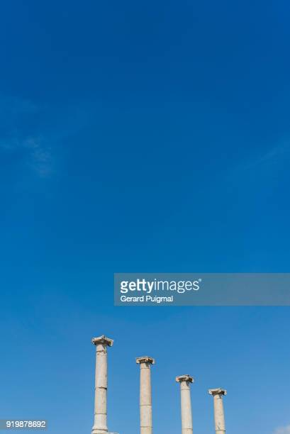 Four columns in the Roman city of Pompeii (Pompei, Campania, italy) on a clear blue sky from a low angle.