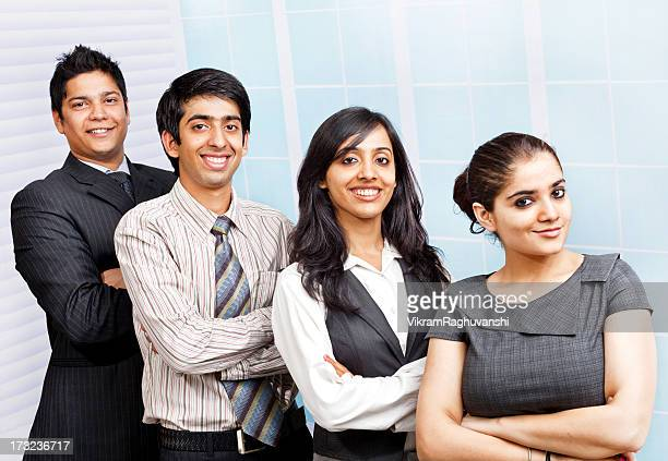 Four Confident young cheerful Indian Business Team Person People