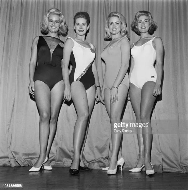 Four contestants in the Miss World 1965 beauty contest, London, UK, 12th November 1965. From left to right, they are Lesley Langley , Lesley Bunting...