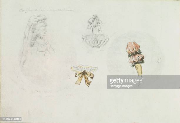 Four Costume Design Sketches of a Woman a Basket a Collar and a Sleeve circa 178590 Artist Anon