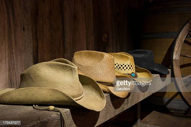 four cowboy hats - cowboy hat stock pictures, royalty-free photos & images