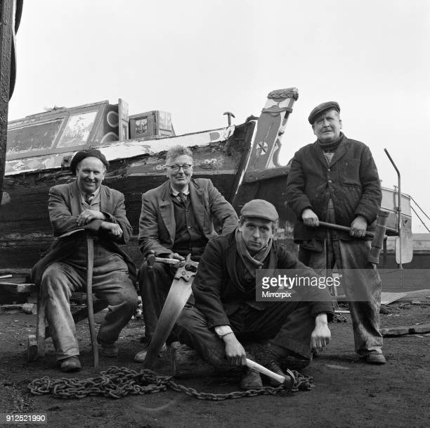 Four craftsmen who repair and rebuild the commercial longboats in Walsall West Midlands 4th March 1971
