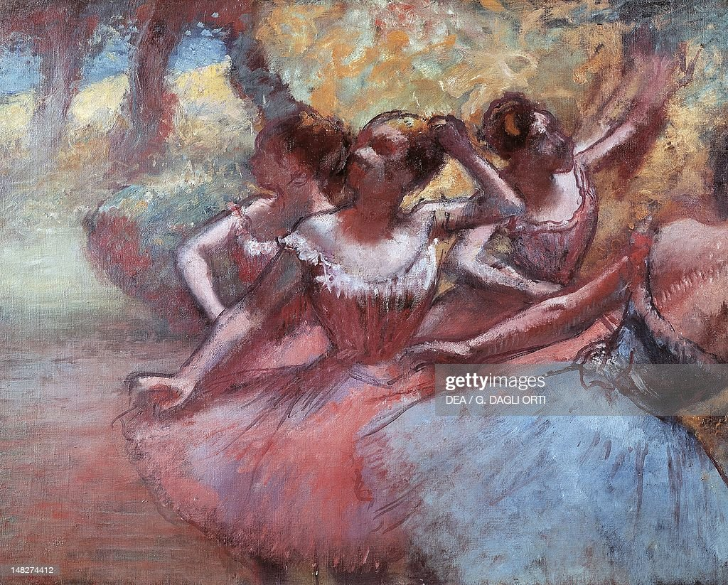 Four dancers on stage, by Edgar Degas (1834-1917). (Photo by DeAgostini/Getty Images) : News Photo
