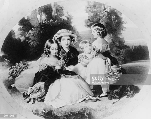 Four daughters of Queen Victoria and Prince Albert circa 1850 They are Victoria Princess Royal Princess Alice Princess Helena and Princess Louise A...