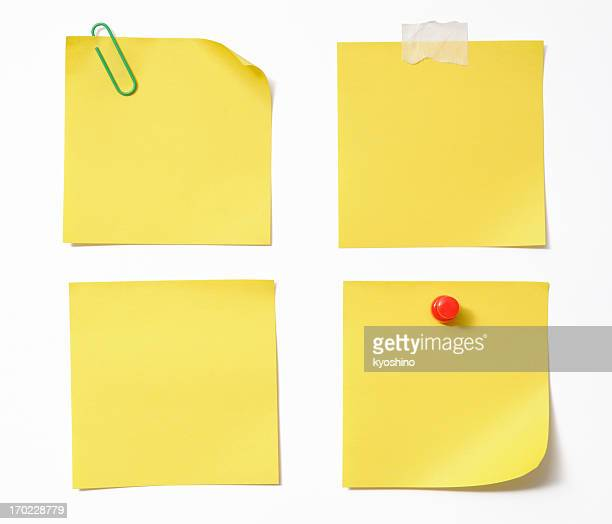 Four different blank yellow sticky note on white background