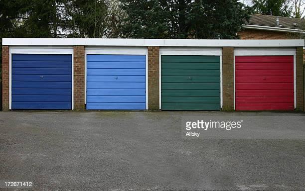 Four different color garage doors