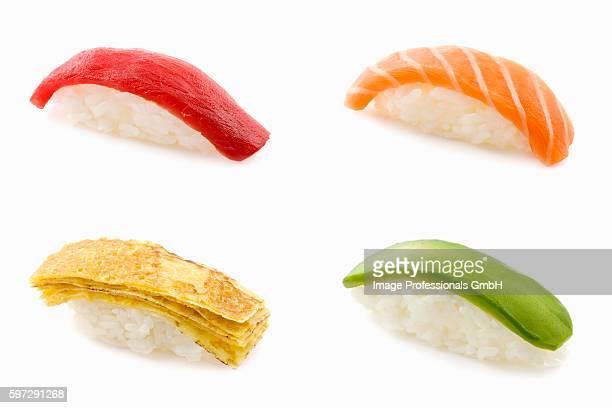 Four different nigiri sushi