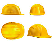 Four different view points of a yellow construction hat