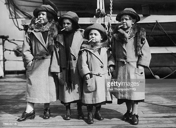 Four diminutive ladies arrive in New York on board the 'Mongolia' bound for the circus in Madison Square Garden circa 1925 From left to right they...