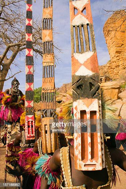 Four Dogon Dancers, Masks and Stilts