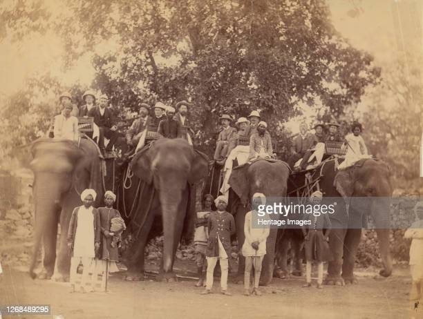 Four Elephants with Western Travellers and Attendants, Jaipur, India, 1860s-70s. Artist Unknown.